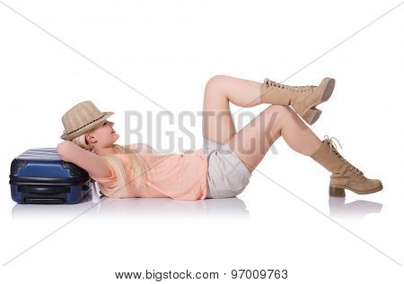 Young tourist with suitcase isolated on white