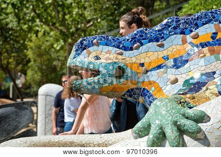 BARCELONA, SPAIN - MAY 02: GaudiÃ?'s multicolored mosaic salamander, popularly known as