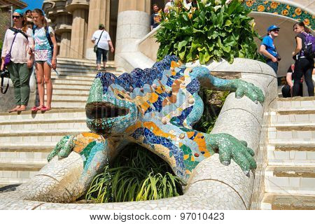 BARCELONA, SPAIN - MAY 02: Gaudi's multicolored mosaic salamander, popularly known as