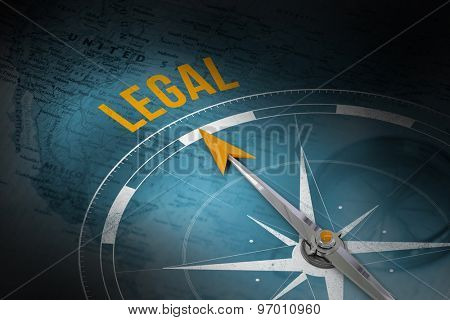 The word legal and compass against world map with compass showing north america