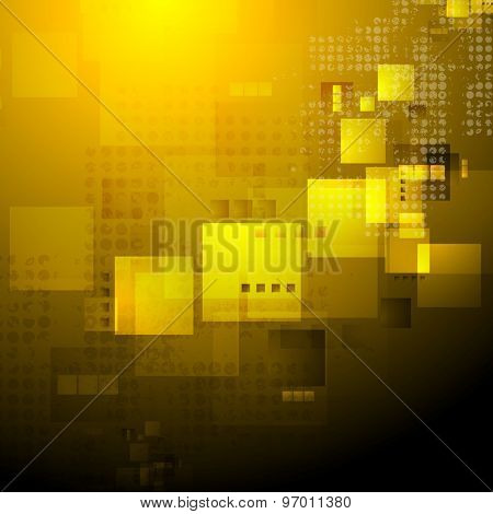 Orange abstract technology background. Vector grunge design