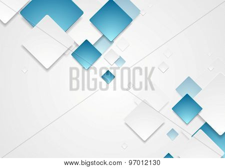 Abstract geometric tech blue white paper squares design. Vector background