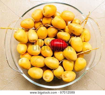 Freshly plucked date palms fruit kept on a bowl on an plain background