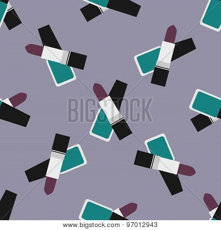 Lipstick With Nail Polish Seamless Pattern