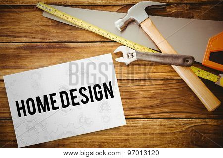 The word home design and architect background against white card