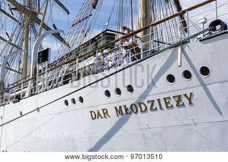 Sailors On The Polish Training Ship Dar Mlodziezy