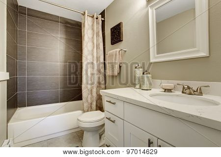 Simplistic Bathroom Wth Grey And White Theme.