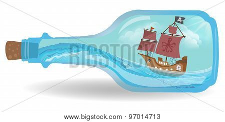 Pirat boat in a bottle isolated on white