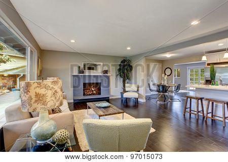 Modern Living Room With Dark Hardwood Floor.