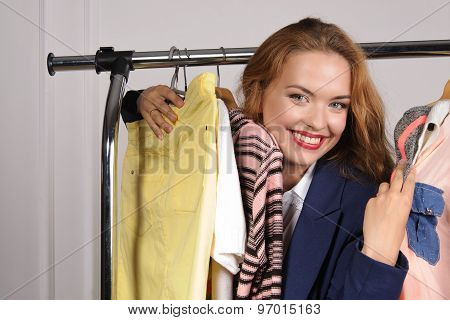 Woman In Formal Attire Excited Buying Things