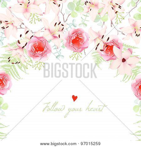 Wedding Lilies And Rose Flowers Vector Card