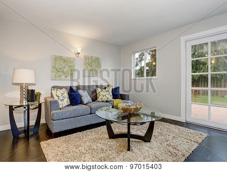 Lovely Room With Blue Sofa.