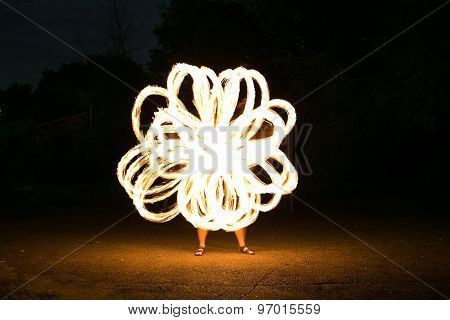 Fire-show Man In Action