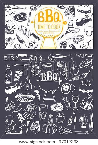 Barbecue party invitation. Doodle set & food flyer.