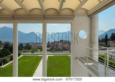 Architecture, panoramic veranda of a modern villa, top view