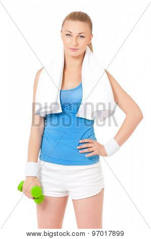 Happy young woman in fitness wear exercising with dumbbells, isolated on white background