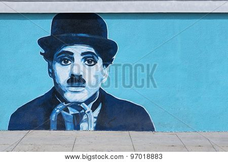Charlie Chaplin Mural Graffiti On The Wall