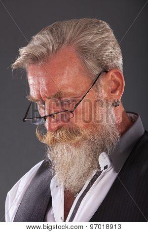 Portrait Of A Man With Beard And Glasses