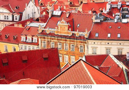 Roofs of old houses on Old Town Square, Prague, Czech republic