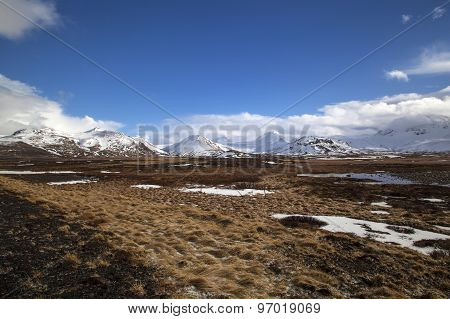Snowy Mountain Landscape In Iceland