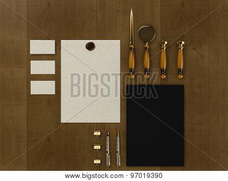 Set Of Identity Elements On Vintage Wood Background