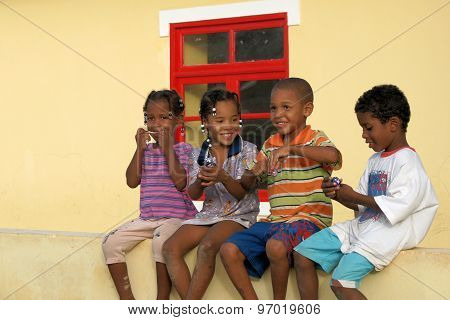Dark-skinned Children On Boavista, Cape Verde