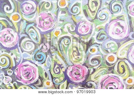 Blossoming Tree Brunch. Elegance Floral Pattern Background.