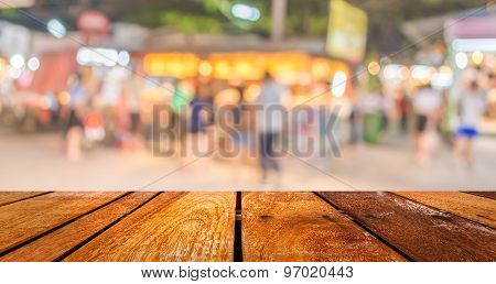 Blurred Background. Street Decorated With Festive Lights.
