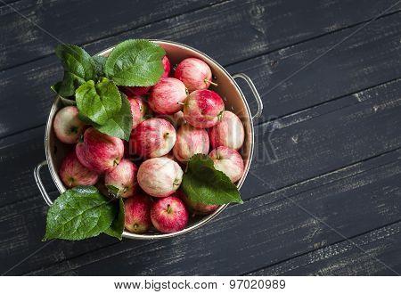 Fresh Apples In A Vintage Colander On A Dark Wooden Surface