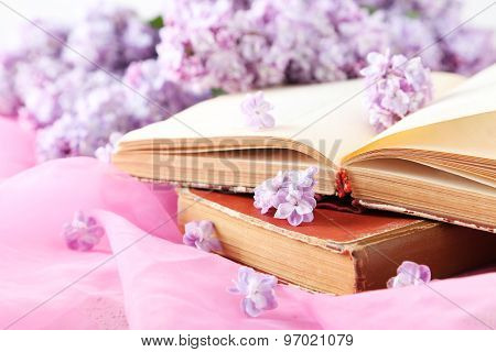 Beautiful Lilac Flowers With Book On Pink Cloth Background