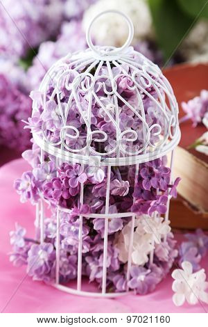 Beautiful Lilac Flowers In Birdcage On Pink Background