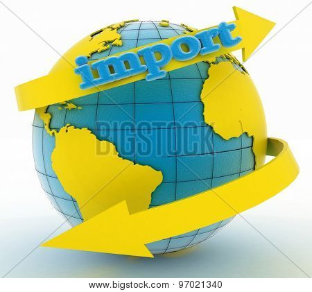 Import arrow around earth for business. Direction concept. 3d illustration on white background