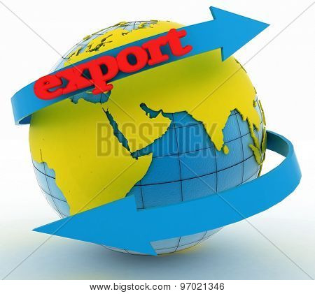 Export arrow around earth for business. Direction concept. 3d illustration on white background