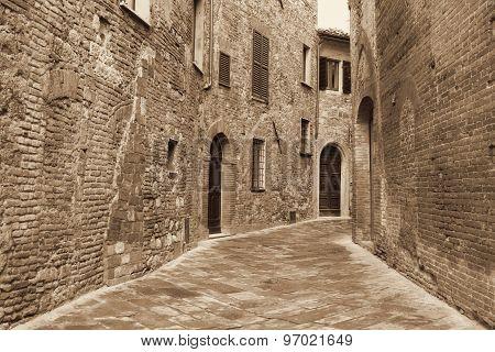 Italy. Tuscany Region. Montepulciano Town. In Sepia Toned. Retro Style