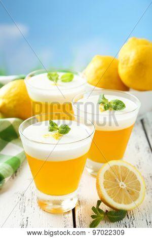 Tasty Lemon Jelly In Glass On White Wooden Background