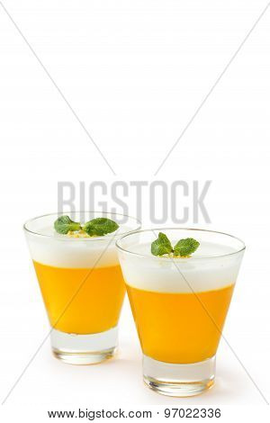 Tasty Jelly In Glass Isolated On White