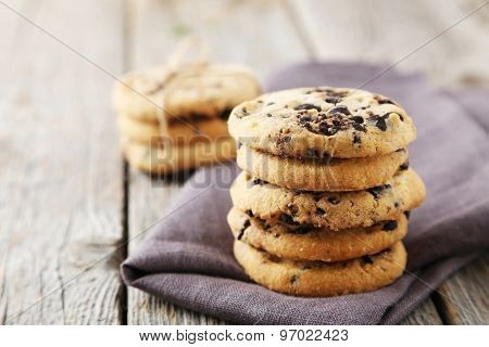 Chocolate Chip Cookies On Grey Wooden Background
