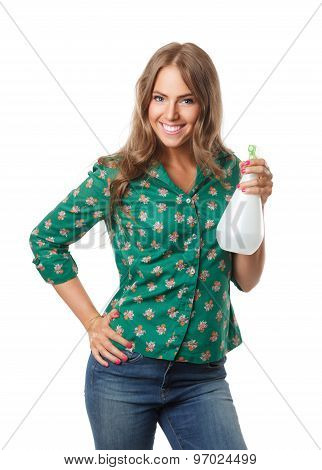 Pretty Woman Holding A Watering Spray Bottle