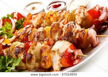 Shashlik - grilled meat and vegetables