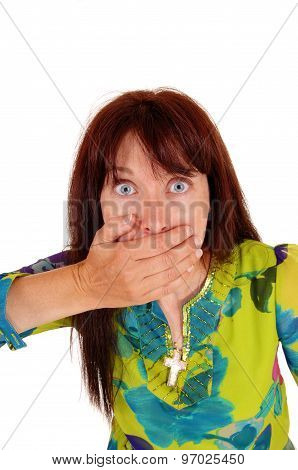 Surprised Woman With Hand On Mouth.