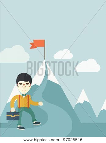 A japanese businessman holding his bag will climb up to top of the mountain to achieve success by holding the red flag. Willingness, leadership concept. A Contemporary style with pastel palette, soft