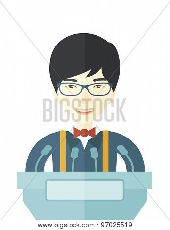 A chinese speaker stands behind a podium with microphones makes a business report  and marketing strategy inside the conference room. Presentation, reporting concept. A contemporary style. Vector flat