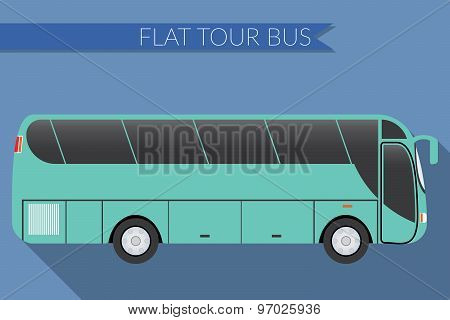 Flat Design Vector Illustration City Transportation, Bus, Intercity, Long Distance Tourist Coach Bus