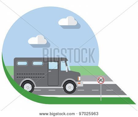 Flat Design Vector Illustration City Transportation, Bank Armored Truck, Side View Icon