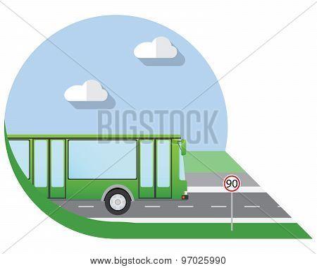 Flat Design Vector Illustration City Transportation, City Bus, Side View Icon