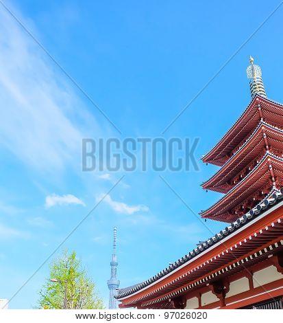 Sensoji Temple,japan, With A Cloud And Blue Sky .