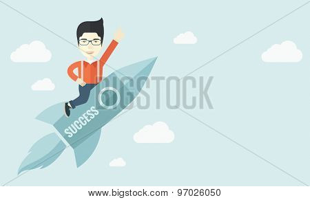 A man flying on the rocket raising his hand in the air as his start up. Success concept. A Contemporary style with pastel palette, soft blue tinted background with desaturated clouds. Vector flat