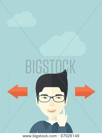 Japanese man thinking which way to go left or right arrows. Choosing concept.  A Contemporary style with pastel palette, soft blue tinted background with desaturated clouds.. Vector flat design