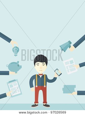 A japanese Man with smartphone in hand has a lot of of task and paperwork suitable for time management business concept. A Contemporary style with pastel palette, soft blue tinted background. Vector