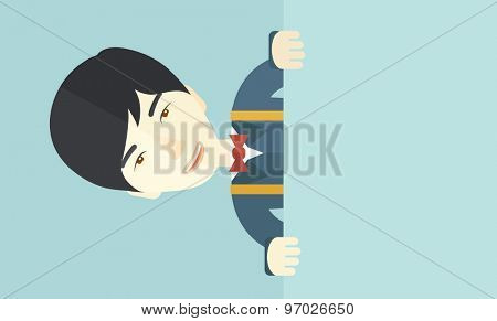 A chinese guy holding a white board. A Contemporary style with pastel palette, soft blue tinted background. Vector flat design illustration. Horizontal layout.
